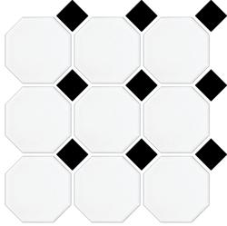 MATT WHITE OCTAGON BLACK MATT DOT 97X97mm