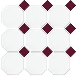 MATT WHITE OCTAGON BURGUNDY MATT DOT 97X97mm