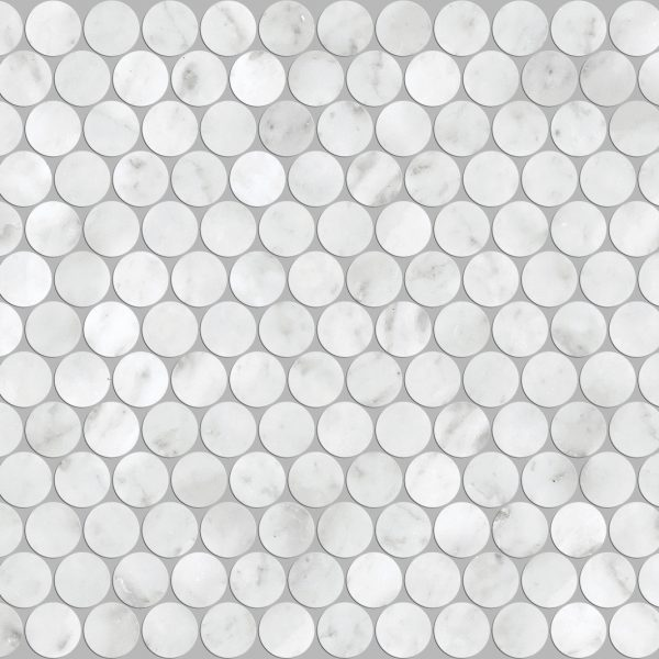 ARTEMIS CARRARA WHITE PENNY ROUND HONED 23X23mm