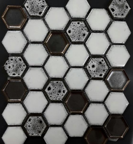 ARVEX HEXAGONAL COOKIES AND CREAM MOSAIC TILE 290×250mm