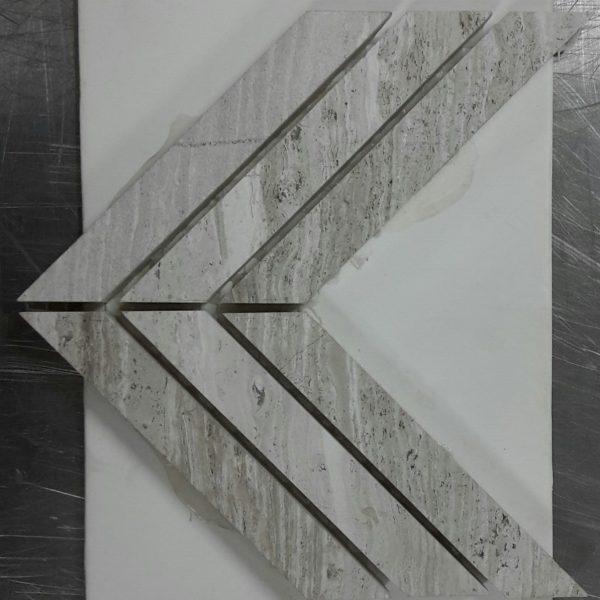 ARVEX WOODEN WHITE CHEVRON PATTERN MOSAIC TILE 305×305mm