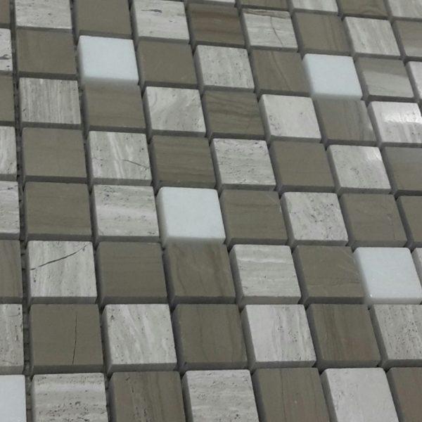 ARVEX WOODEN WHITE MOCHA SNOW MOSAIC TILE 305×305mm