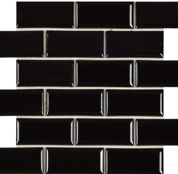 BEVELLED BLACK SUBWAY TILE 288×294mm