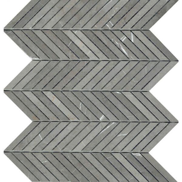 CHEVRON PIETRA GREY HONED MOSAIC TILE 15x75mm