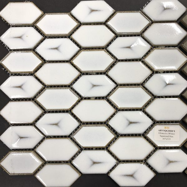 GHIACCIO (WHITE) SQUEEZED HEX MOSAIC TILE 307x335mm