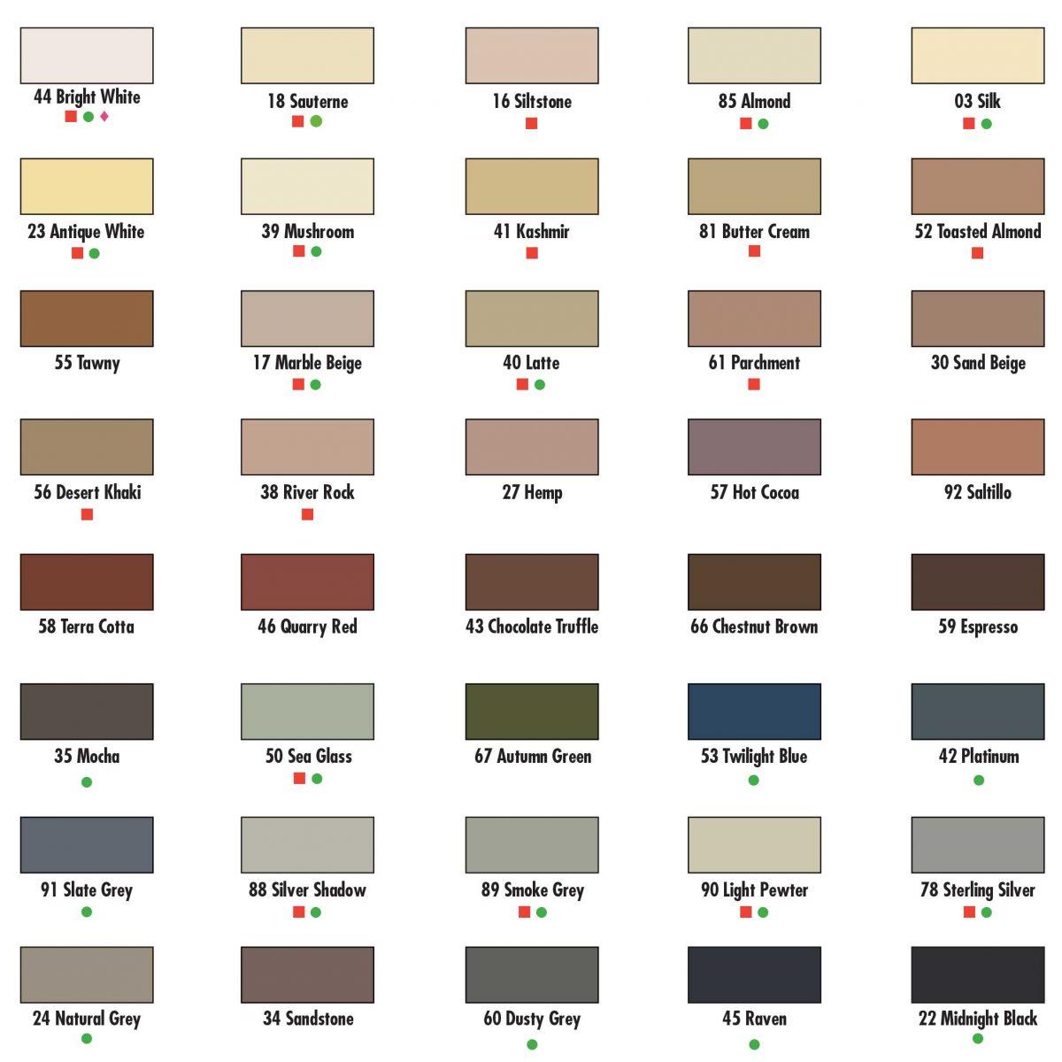 Laticrete-Epoxy-Grouts--Sealant-Colour-Chart
